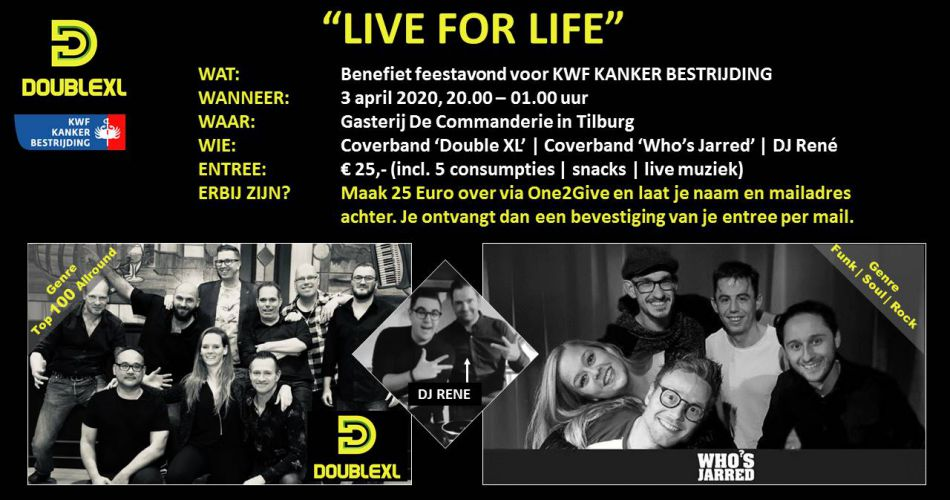 Live for Life: benefiet kankerbestrijding